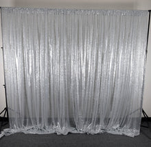 Load image into Gallery viewer, Silver Sequin Backdrop Curtain 20Ft x 10Ft