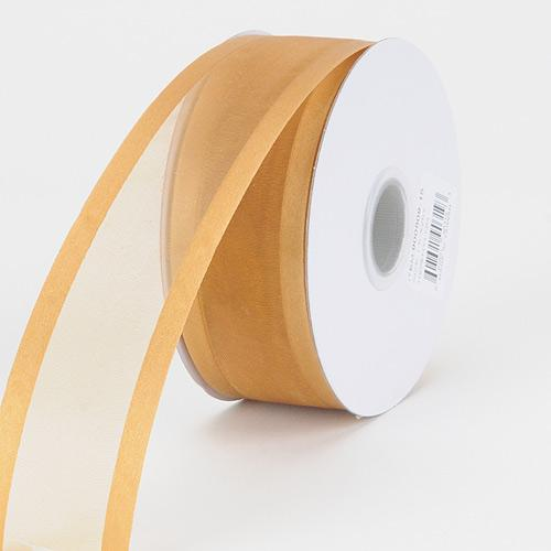 Old Gold - Wired Organza Ribbon Two Striped Satin Edge - ( 1-1/2 inch | 25 Yards )