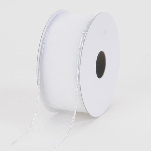 Sheer Organza Ribbon White with Silver Edge ( 7/8 inch | 25 Yards )