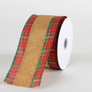Gold Natural Faux Burlap Christmas Ribbon - (2.5 inch x 10 yards) - X84214015