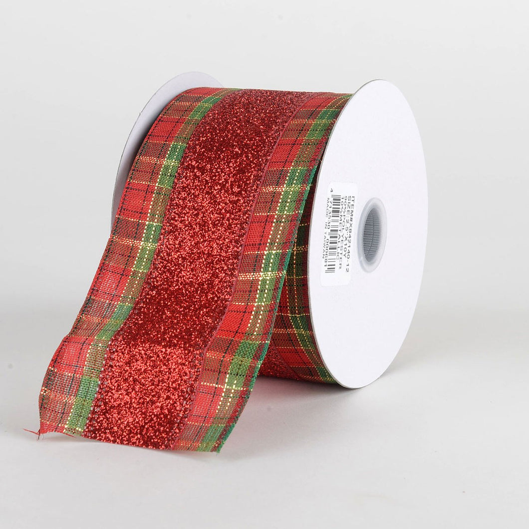 Red Natural Faux Burlap Christmas Ribbon - (2.5 inch x 10 yards) - X84214012