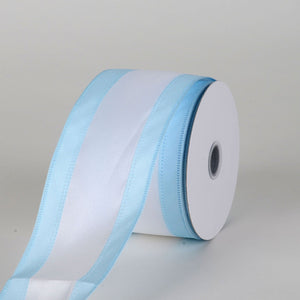 Satin Light Blue & White Colleges Wired Ribbon ( 2-1/2 Inch x 10 Yards )