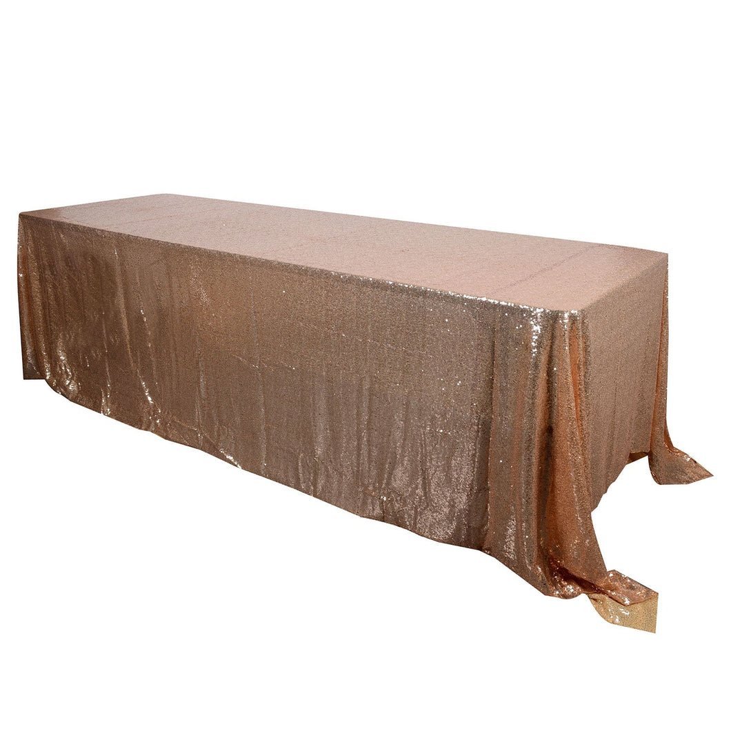 Rose Gold 90x132 inch Rectangular Duchess Sequin Tablecloth