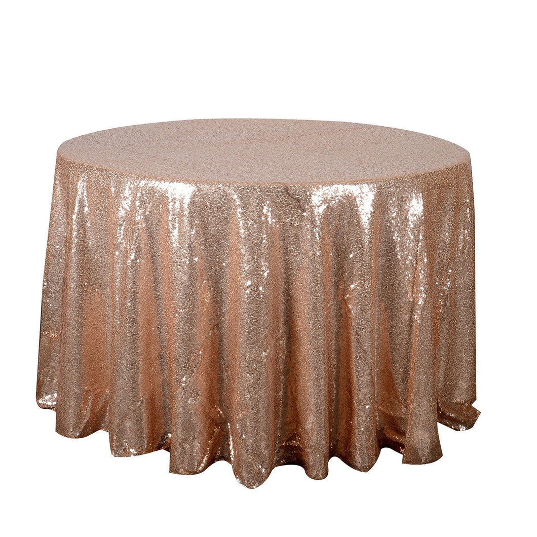 Rose Gold 120 inch Round Duchess Sequin Tablecloth