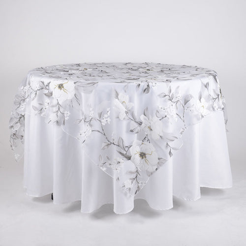 White 72 Inch x 72 Inch Organza with Flower Print Overlay