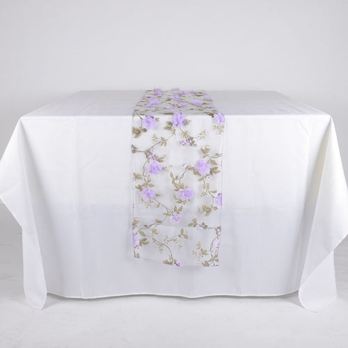 Lavender Organza with 3D Roses Table Runner