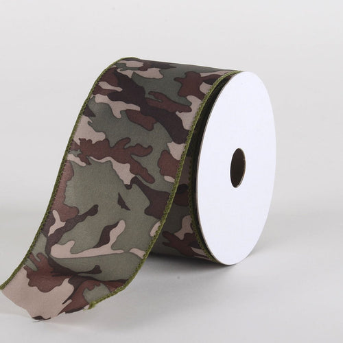 Camouflage Satin Wired Ribbon 2.5''x10yds