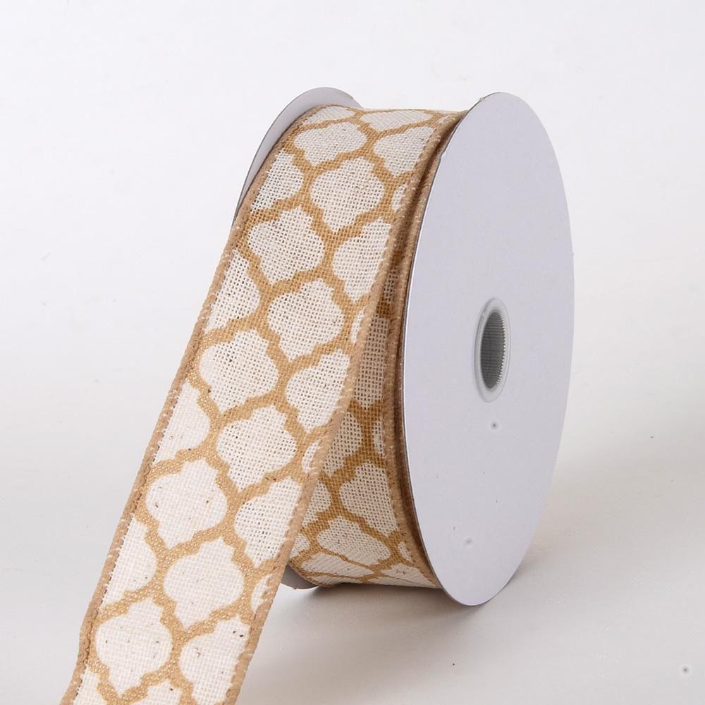 Gold - Canvas Ribbon Large Quatrefoil Print - ( W: 1-1/2 inch | L: 10 Yards )