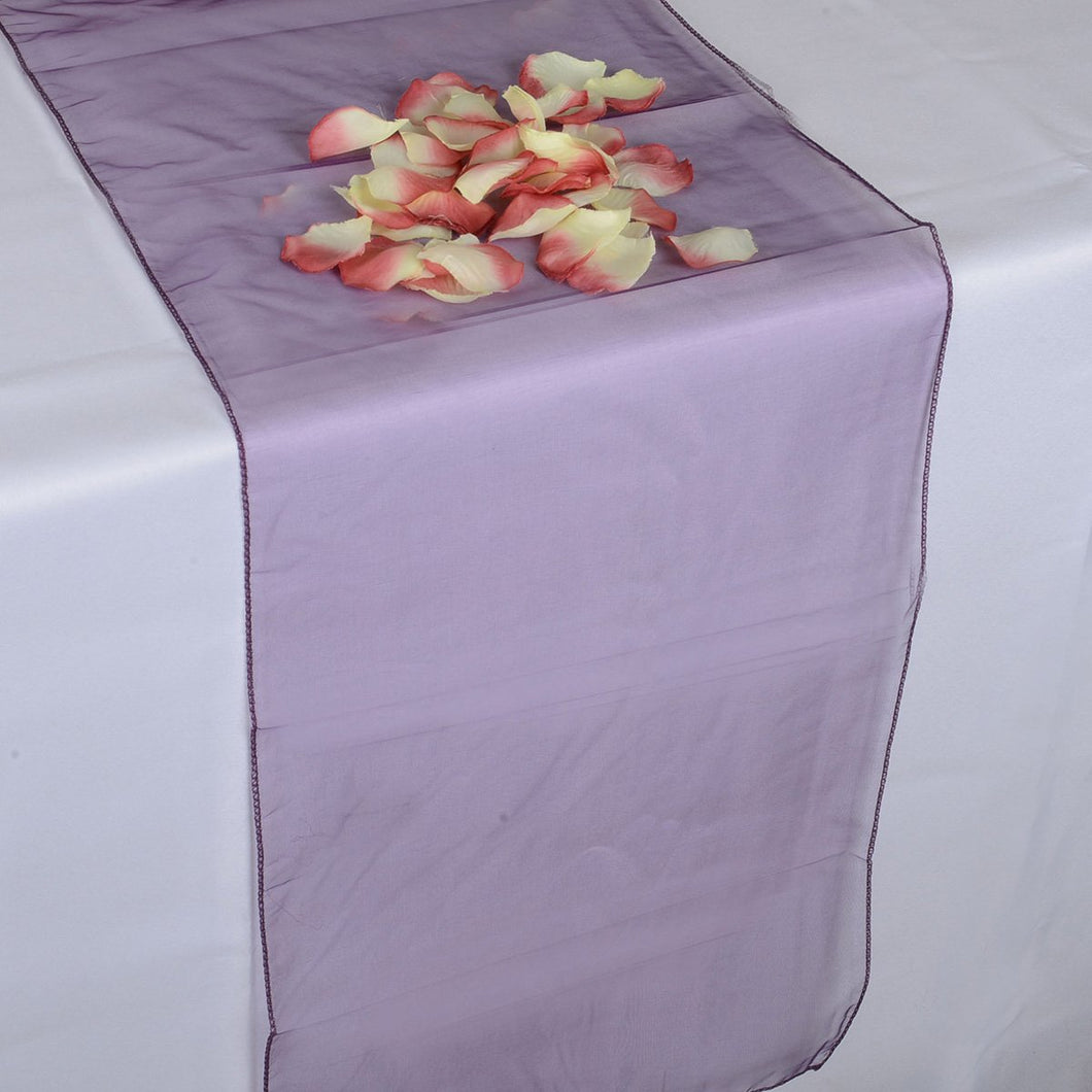 Plum - Organza Table Runners - ( 14 inch x 108 inches )