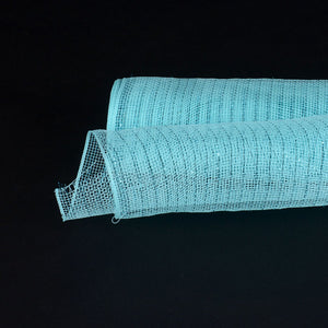 Aqua Blue  - Deco Mesh Wrap Metallic Stripes -  ( 21 Inch x 10 Yards )