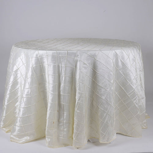 Ivory - 120 inch Round Pintuck Satin Tablecloth