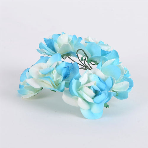 Paper Flowers- Ivory w. Turquoise(6x12)