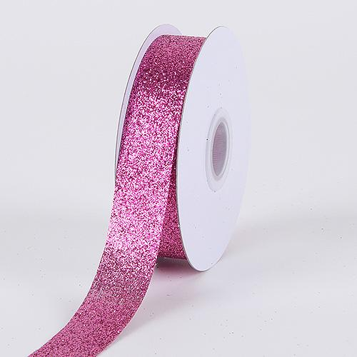 Fuchsia - Metallic Glitter Ribbon - ( 5/8 Inch 25 Yards )
