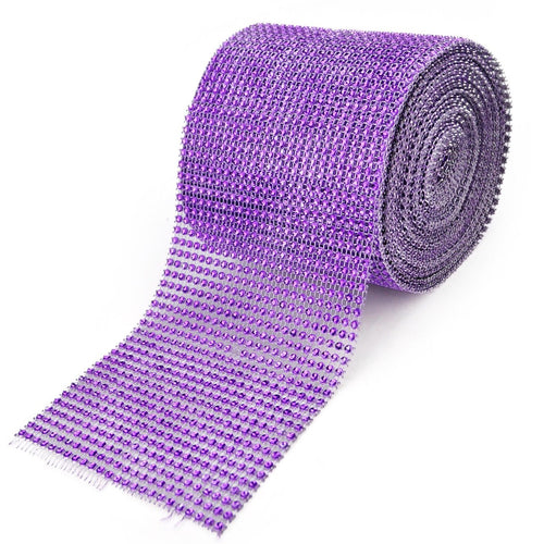 Purple - Bling Diamond Rolls - ( 4 Inch x 10 Yards )