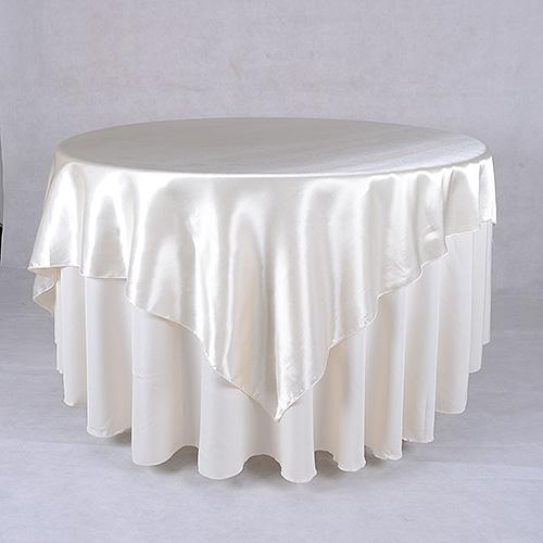 Ivory - 90 x 90 Satin Table Overlays - ( 90 Inch x 90 Inch )