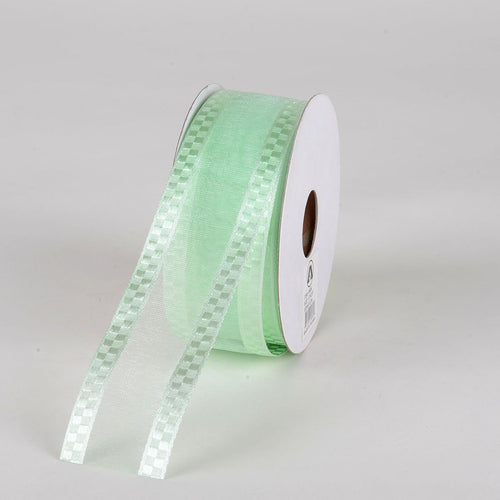 Mint - Organza Check Edge Ribbon - ( 1-1/2 inch | 25 Yards )