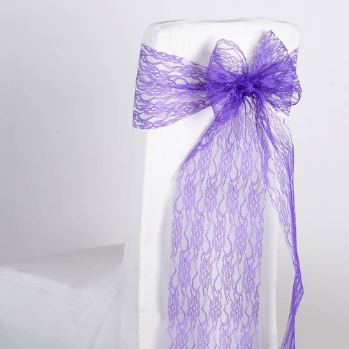 Purple - Lace Chair Sash - ( Pack of 5 pieces - 7 inches x 106 inches )