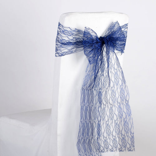 Navy - Lace Chair Sash - ( Pack of 5 pieces - 7 inches x 106 inches )