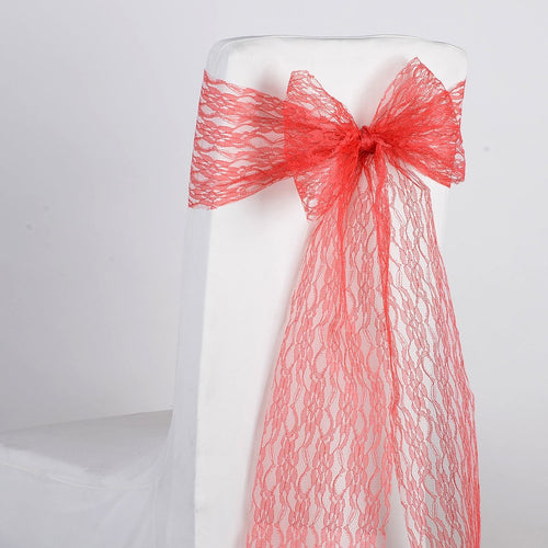 Coral - Lace Chair Sash - ( Pack of 5 pieces - 7 inches x 106 inches )