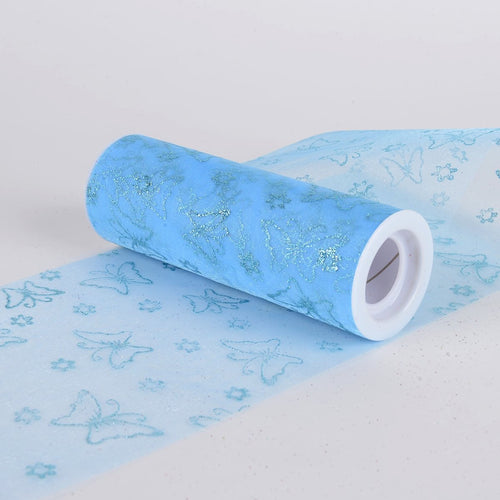Glitter Butterfly Organza Roll -  Light Blue
