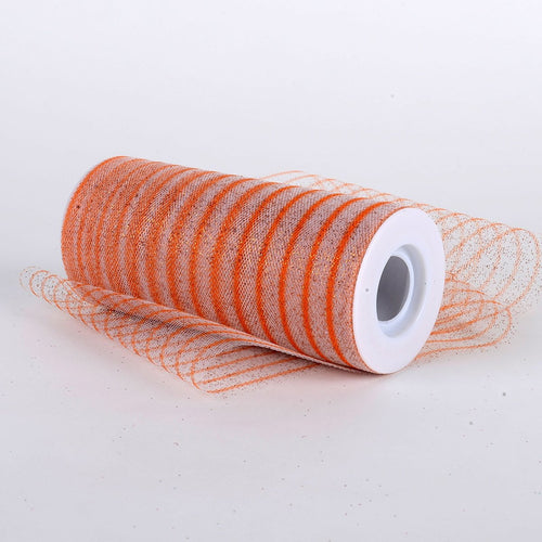 6 Inch Glitter Multi Striped Tulle -  Orange