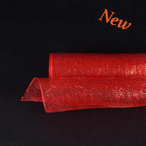 Red Metallic Laser Christmas Mesh - 21 Inch x 10 Yards