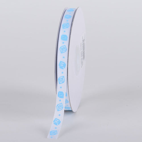 Blue - BABY Blocks - Grosgrain Ribbon Baby  Design ( W: 3/8 inch | L: 25 Yards )