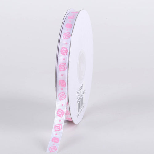 Pink - BABY Blocks - Grosgrain Ribbon Baby  Design ( W: 3/8 inch | L: 25 Yards )