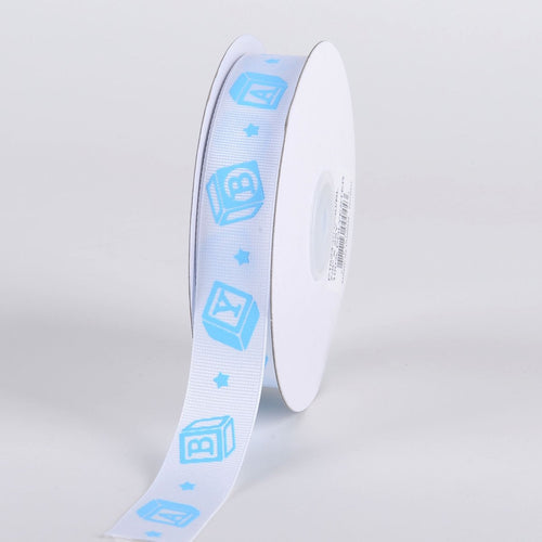 Blue - BABY Blocks - Grosgrain Ribbon Baby  Design ( W: 7/8 inch | L: 25 Yards )