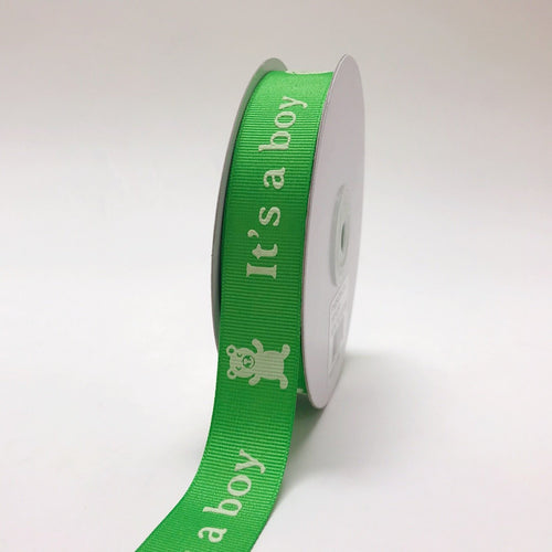 Green - It's a boy - Grosgrain Ribbon Baby  Design ( W: 7/8 inch | L: 25 Yards )