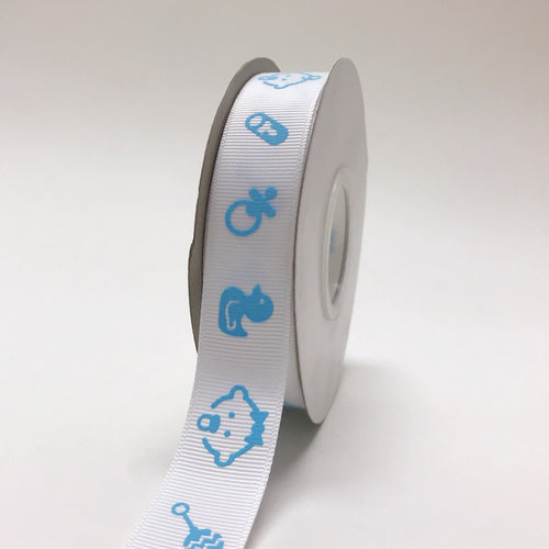 Blue - Baby Face Print - Grosgrain Ribbon Baby  Design ( W: 7/8 inch | L: 25 Yards )