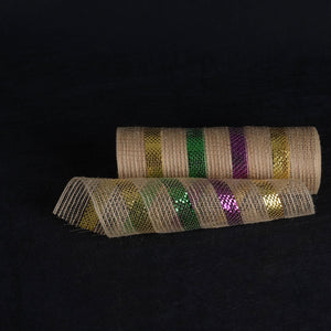Purple Green Gold Metallic Stripes Burlap Mesh ( 10 Inch x 10 Yards )