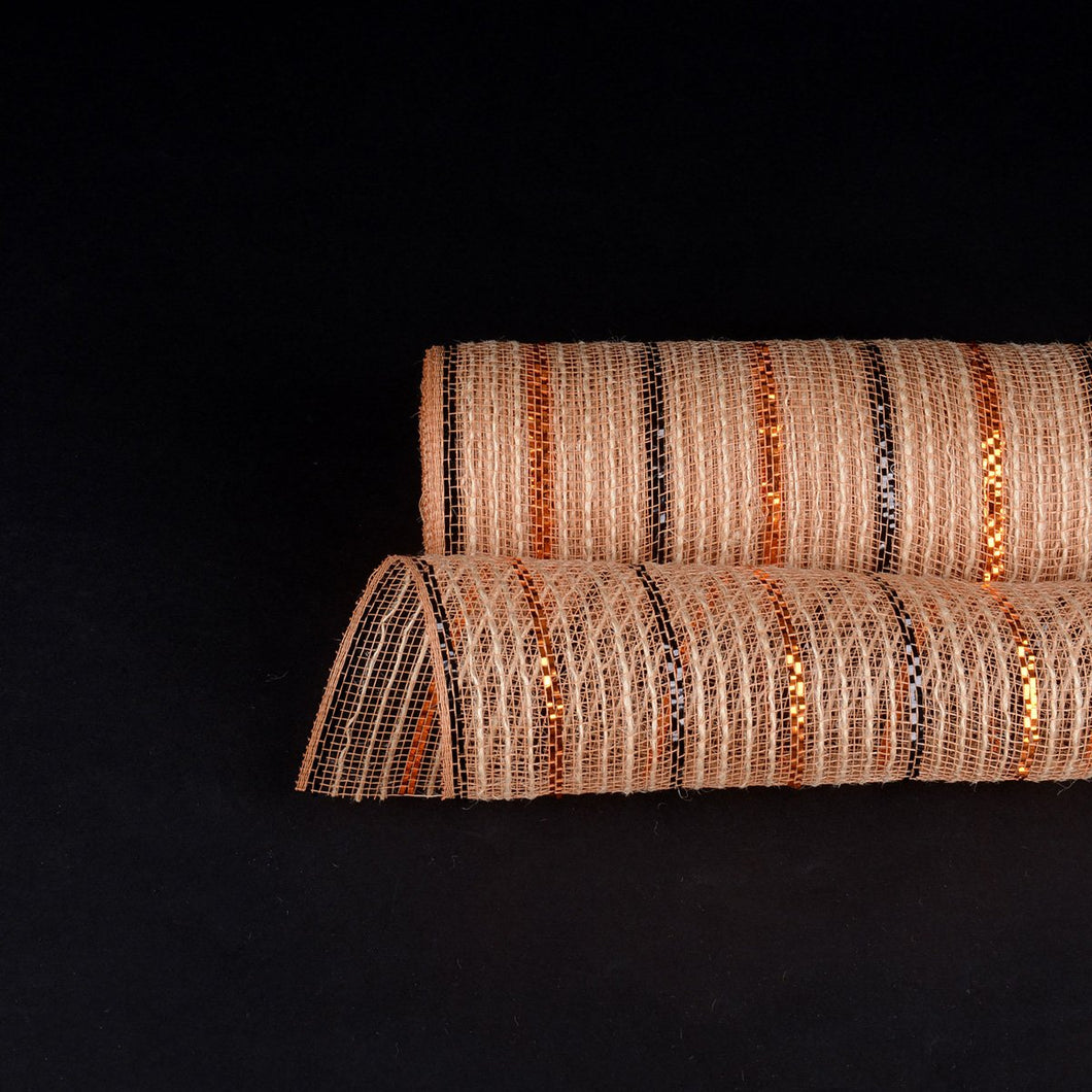 Black Orange Metallic Lines Burlap Mesh ( 10 Inch x 10 Yards )
