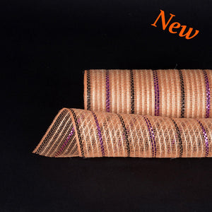 Black Purple Metallic Lines Burlap Mesh ( 10 Inch x 10 Yards )