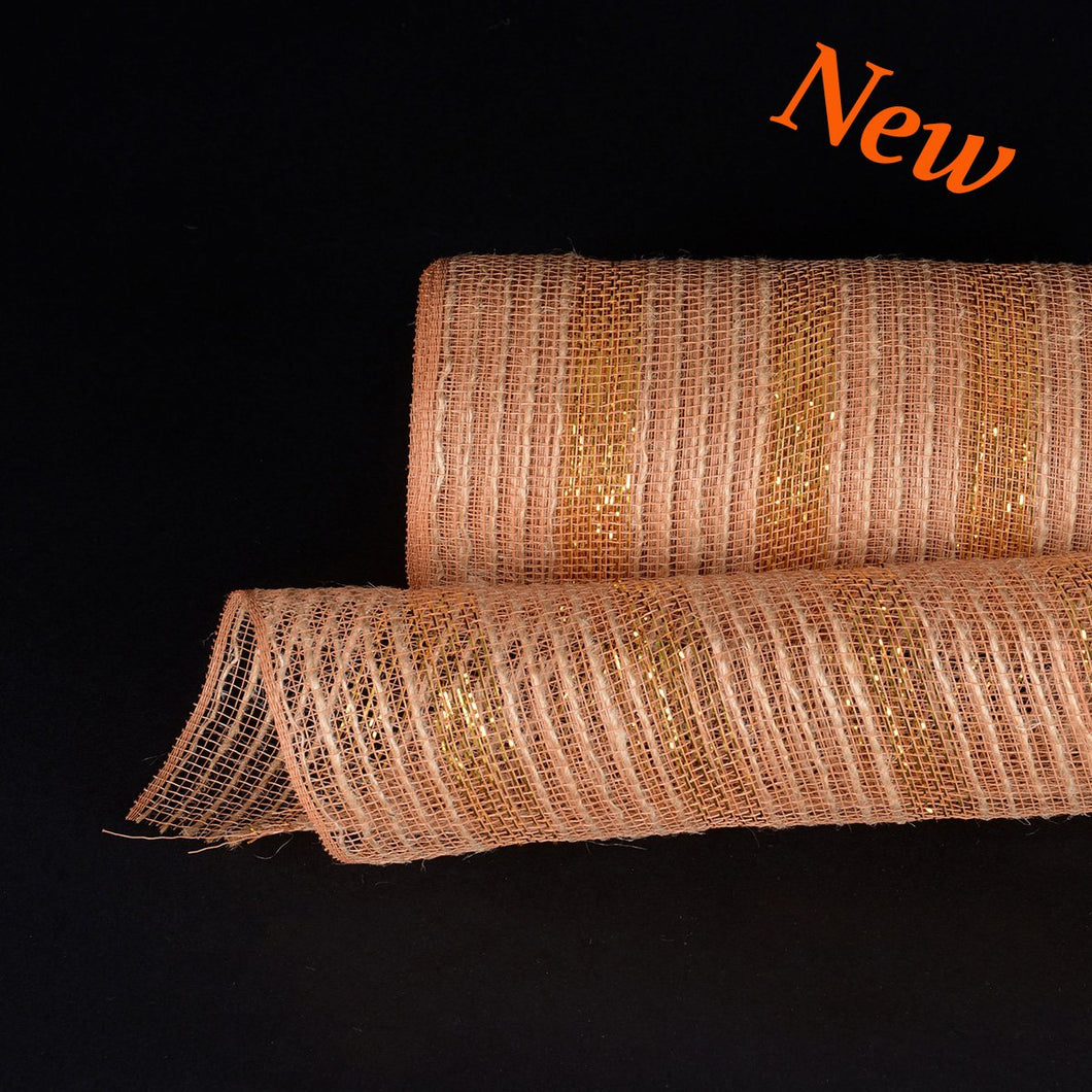 Gold Metallic Stripes Burlap Mesh ( 10 Inch x 10 Yards )