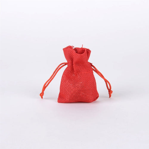 Red - Faux Burlap Bags - ( 3x4 inch - 6 bags )