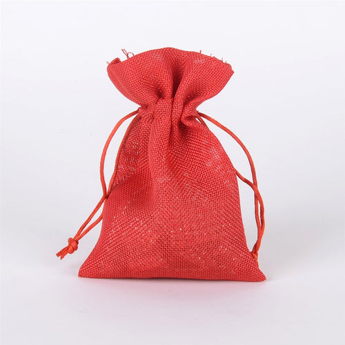 Red - Faux Burlap Bags - ( 5x7 inch - 6 bags )