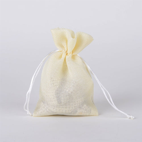 Ivory - Faux Burlap Bags - ( 5x7 inch - 6 bags )