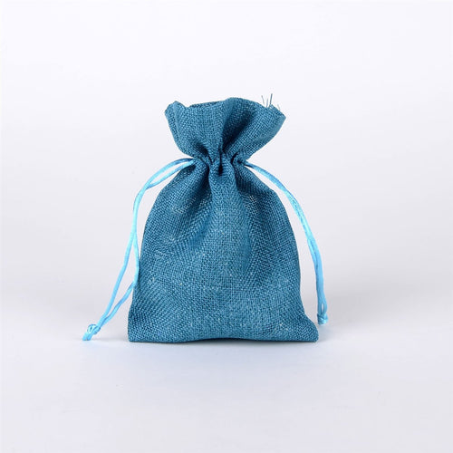 Turquoise - Faux Burlap Bags - ( 5x7 inch - 6 bags )