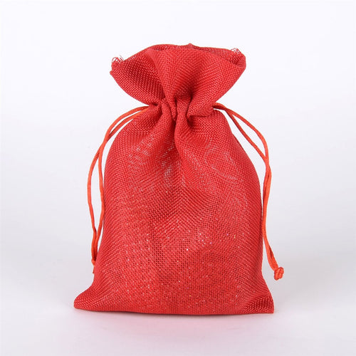 Red - Faux Burlap Bags ( 6x9 inch - 6 Bags)