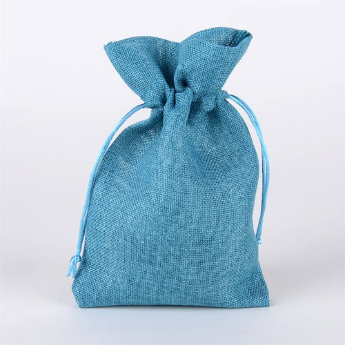Turquoise - Faux Burlap Bags - ( 6x9 inch - 6 bags )