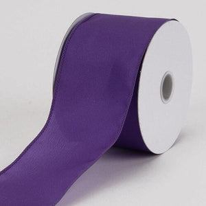 2-1/2 x 10 Yards Plum Satin Ribbon Thick Wired Edge