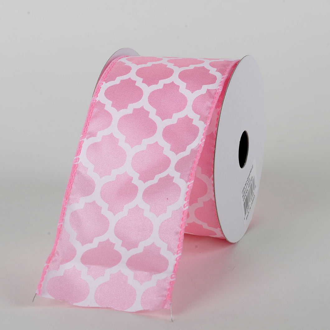 Light Pink - Satin Ribbon Lattice Print - ( W: 2-1/2 inch | L: 10 Yards )