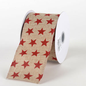 Natural Red - Canvas Stars Ribbon ( W: 2-1/2 inch | L: 10 Yards)