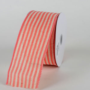 Ivory Coral - Burlap Ribbon Cabana Stripes ( W: 2-1/2 inch | L: 10 Yards )