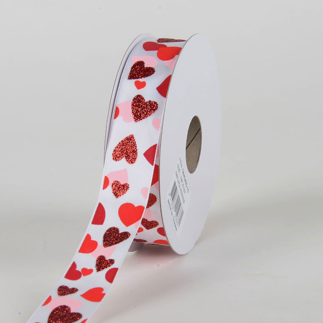 White Satin Shades of Red Hearts Valentine Ribbon ( 7/8 Inch x 10 Yards )