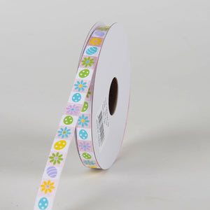 Pink Satin Easter Mosaic Ribbon (3/8 Inch x 10 Yards )