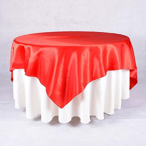 Red - 90 x 90 Satin Table Overlays - ( 90 Inch x 90 Inch )