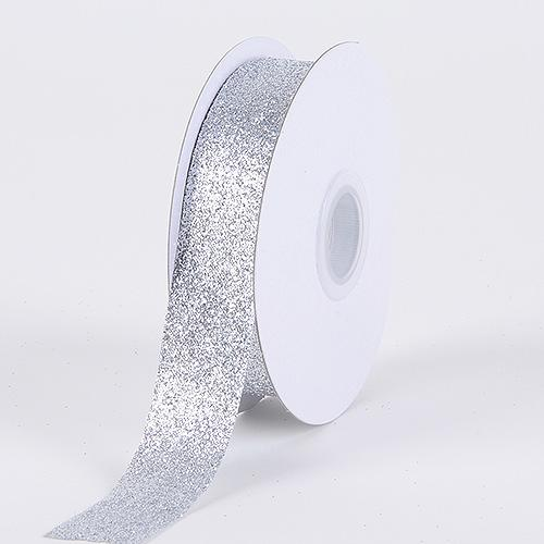 Silver - Metallic Glitter Ribbon - ( 5/8 Inch 25 Yards )
