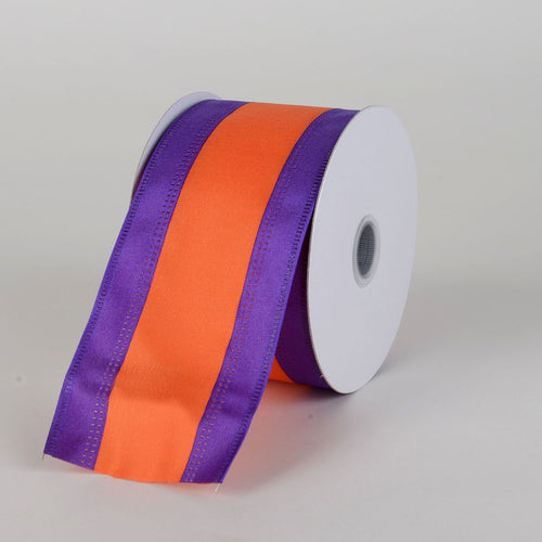 Satin Purple & Orange Colleges Wired Ribbon ( 2-1/2 Inch x 10 Yards )